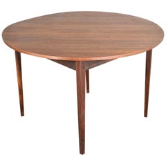 Mid-Century Modern Walnut Round Flip Top or Folding Dining Table to Demilune