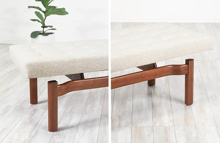 Mid-Century Modern Walnut Sculpted Floating Tufted Bench For Sale 4