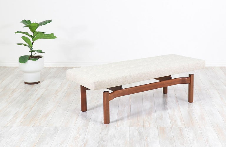 American Mid-Century Modern Walnut Sculpted Floating Tufted Bench For Sale