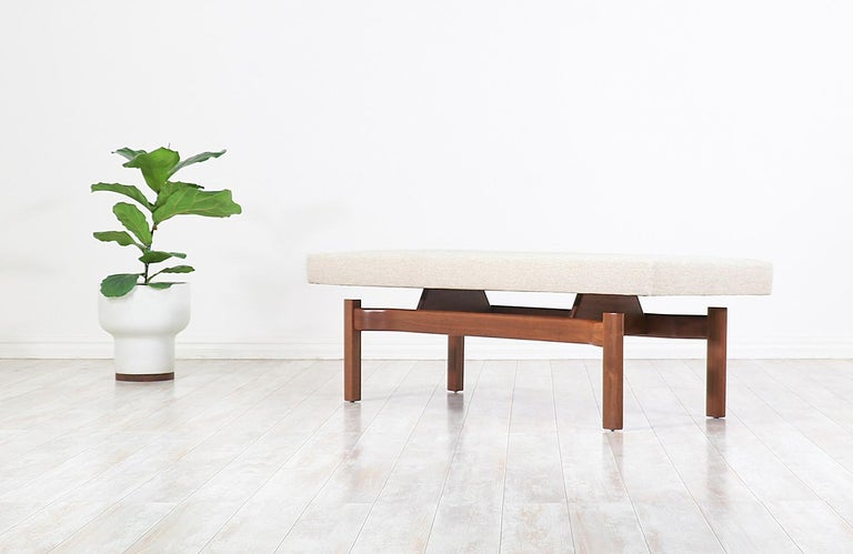 Mid-20th Century Mid-Century Modern Walnut Sculpted Floating Tufted Bench For Sale