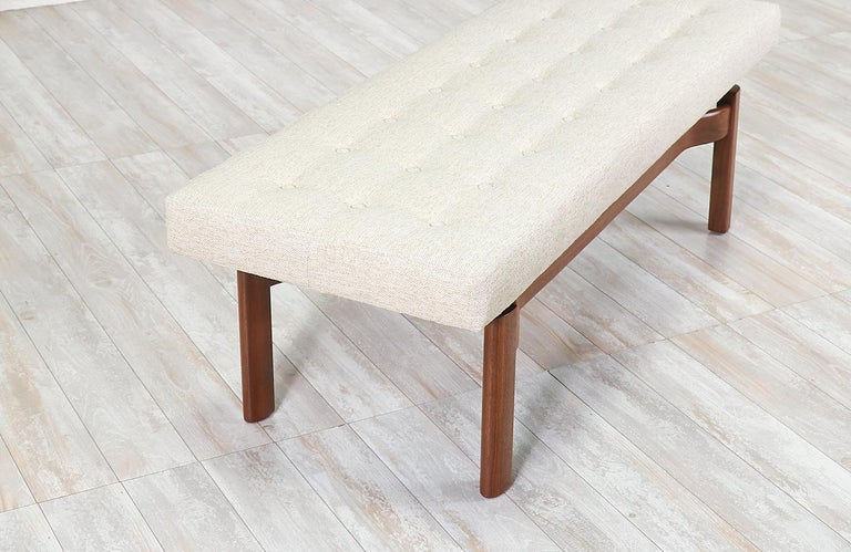 Fabric Mid-Century Modern Walnut Sculpted Floating Tufted Bench For Sale
