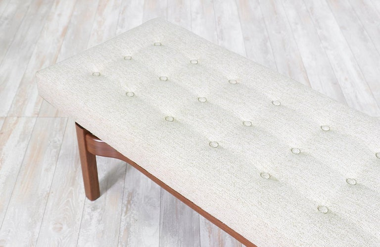 Mid-Century Modern Walnut Sculpted Floating Tufted Bench For Sale 1