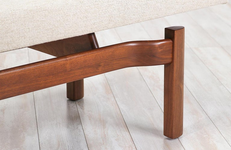 Mid-Century Modern Walnut Sculpted Floating Tufted Bench For Sale 2