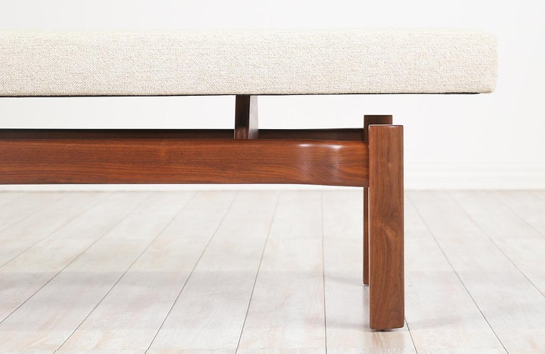 Mid-Century Modern Walnut Sculpted Floating Tufted Bench For Sale 3