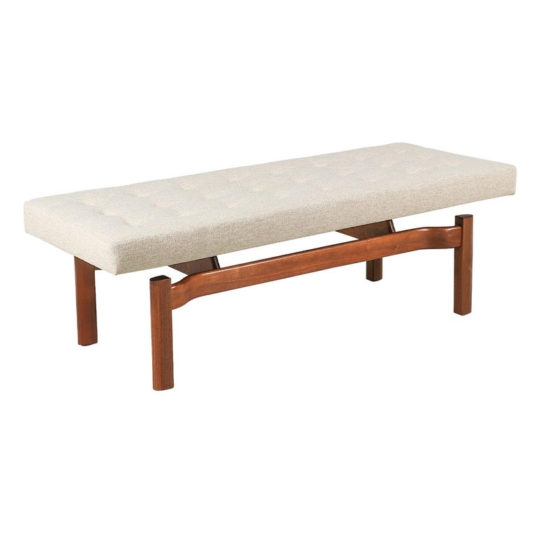 Mid-Century Modern Walnut Sculpted Floating Tufted Bench For Sale