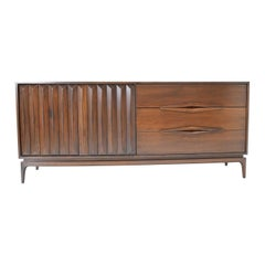 Mid-Century Modern Walnut Sculpted Sideboard