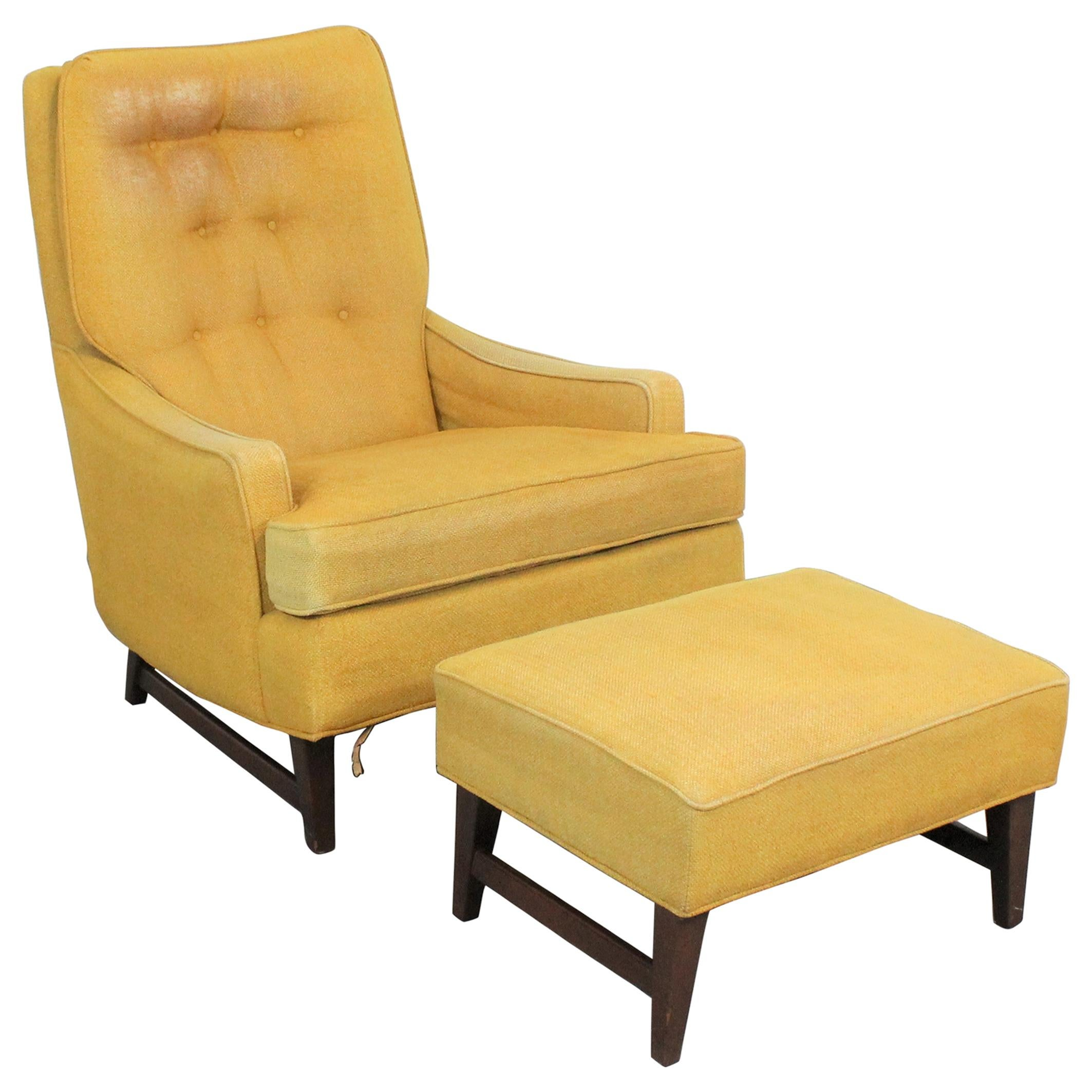 Mid-Century Modern Walnut Selig Style Lounge Chair and Ottoman