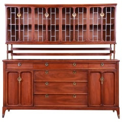 Mid-Century Modern Walnut Sideboard with Leaded Glass Hutch by White Furniture