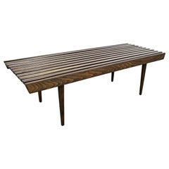 Mid-Century Modern Walnut Slat Bench Coffee Table