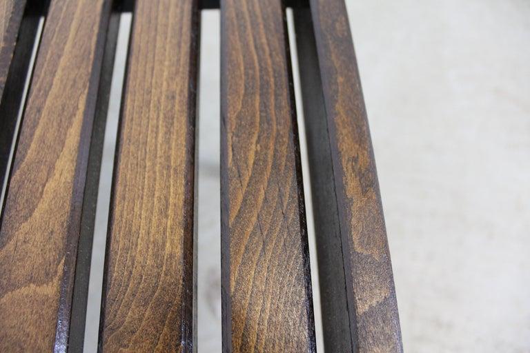 Mid-Century Modern Walnut Slat Bench End/Side Table For Sale 5