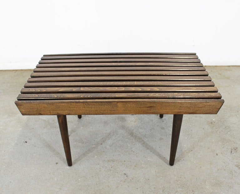 American Mid-Century Modern Walnut Slat Bench End/Side Table For Sale