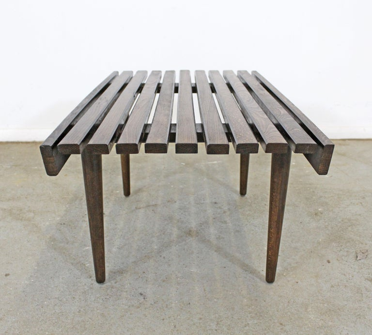 Mid-Century Modern Walnut Slat Bench End/Side Table In Good Condition For Sale In Wilmington, DE