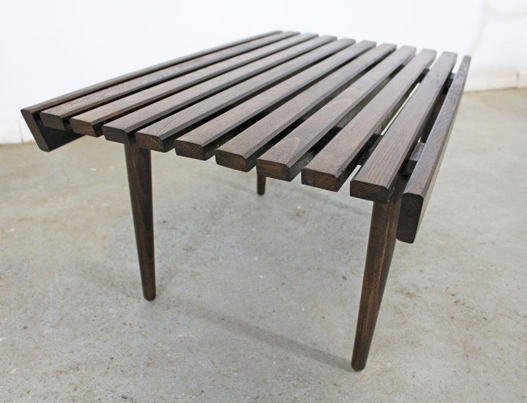 20th Century Mid-Century Modern Walnut Slat Bench End/Side Table For Sale