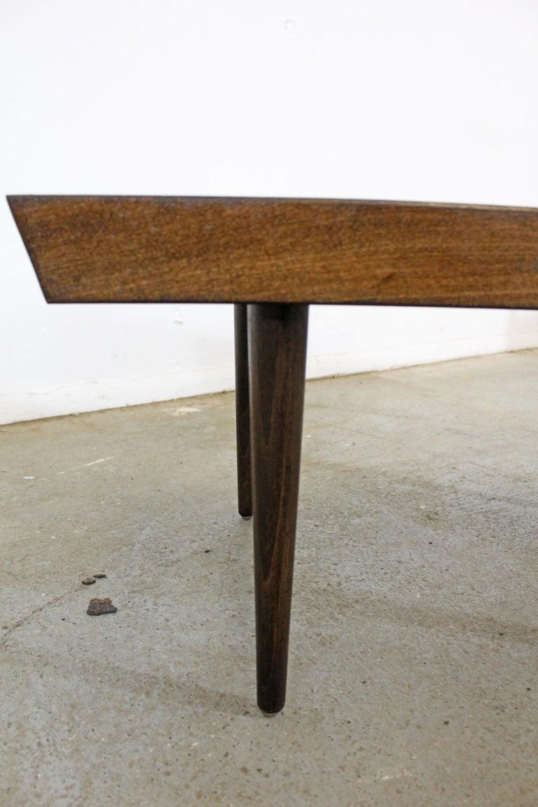 Mid-Century Modern Walnut Slat Bench End/Side Table For Sale 3