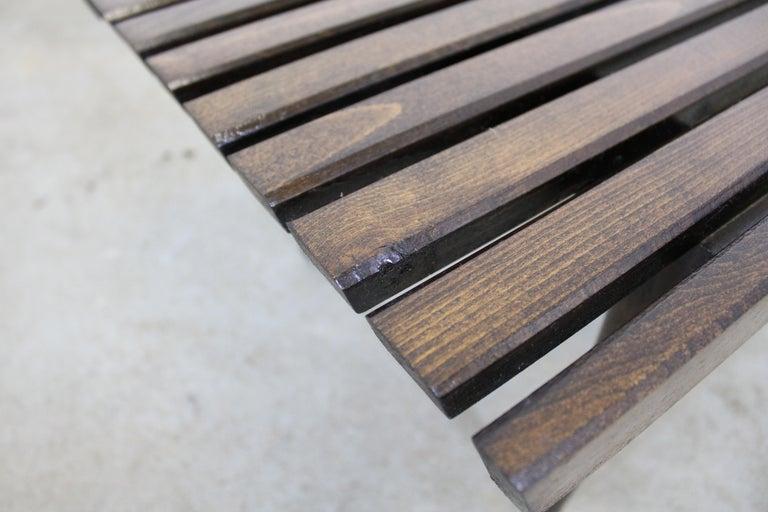 Mid-Century Modern Walnut Slat Bench End/Side Table For Sale 4