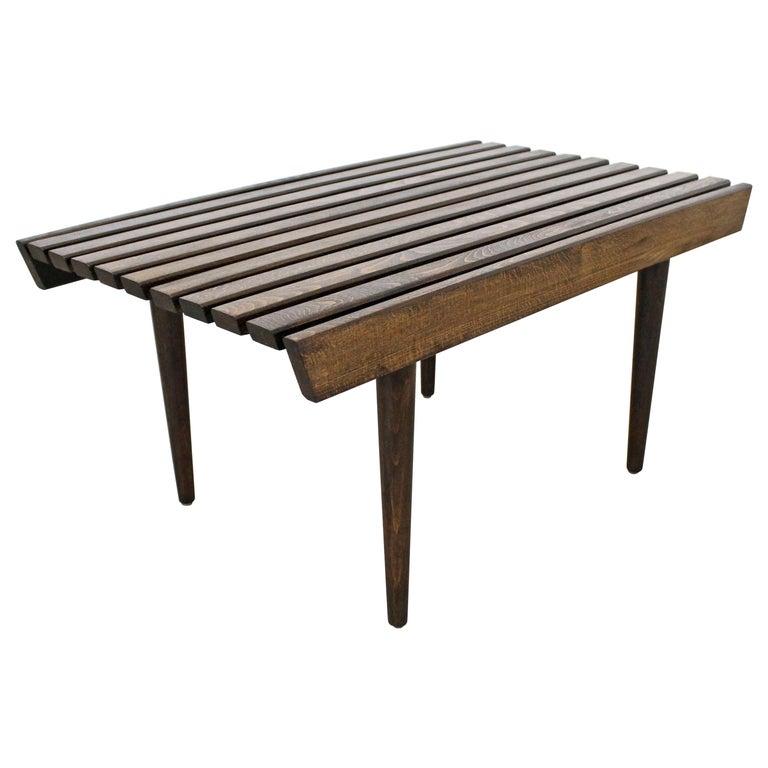 Mid-Century Modern Walnut Slat Bench End/Side Table For Sale