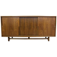 Mid-Century Modern Walnut Sliding Door Credenza by Cavalier