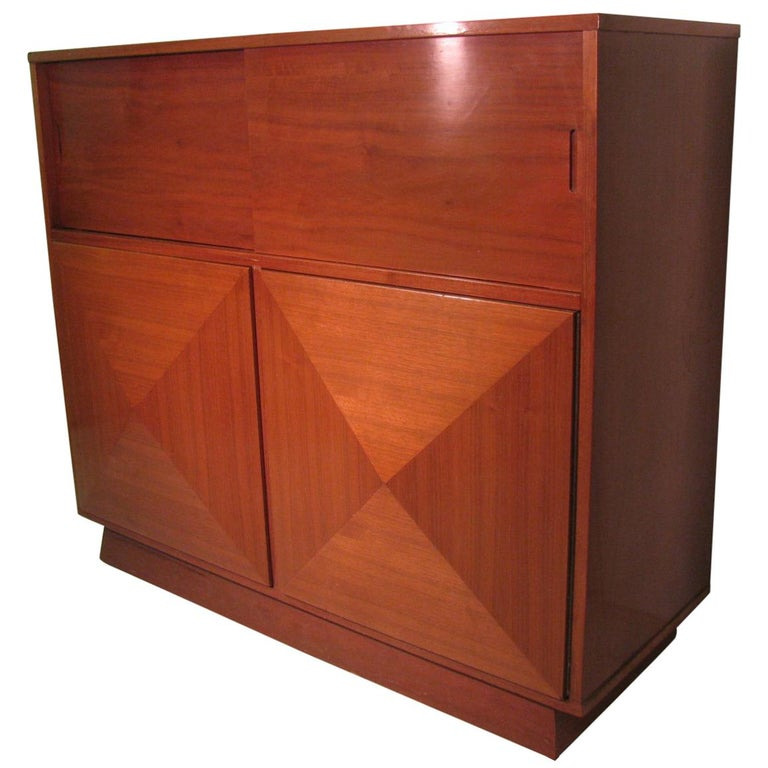 Mid Century Modern Walnut Stereo Media Cabinet Style Of Vladimir Kagan Fabulous For