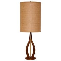 Mid-Century Modern Walnut Table Lamp