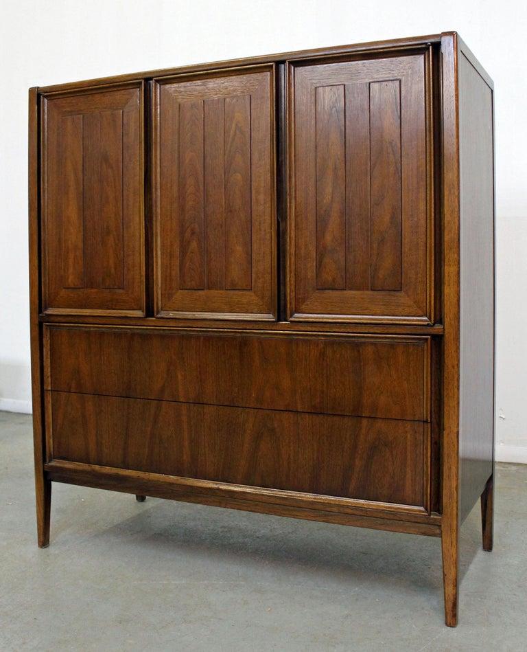 American Mid-Century Modern Walnut Tall Chest Dresser For Sale