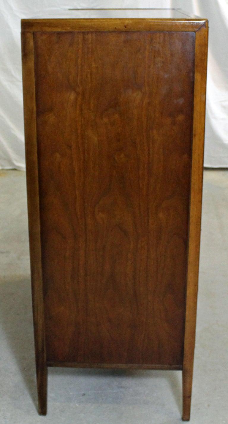 20th Century Mid-Century Modern Walnut Tall Chest Dresser For Sale