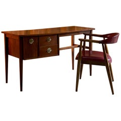 Mid-Century Modern Walnut and Teak Desk and Chair, Denmark, circa 1960