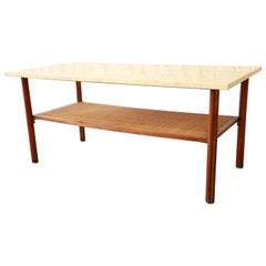Mid-Century Modern Walnut, Travertine, Cane, and Brass Coffee Table