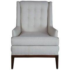 Mid-Century Modern Walnut Tufted Wingback Gentlemans Library Club Arm Chair