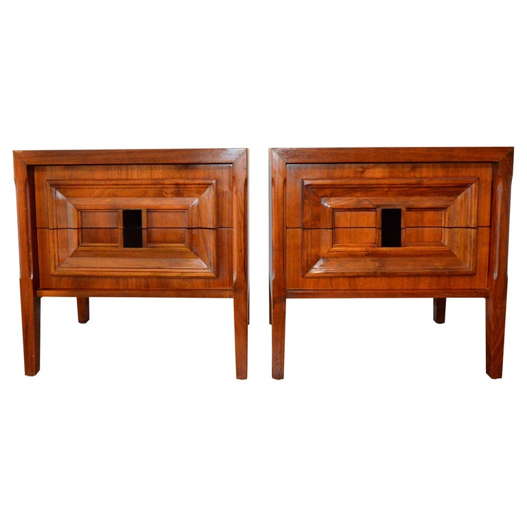 Pair Mid-Century Modern Walnut Veneer and Burl Wood Bedside Nightstands /Tables