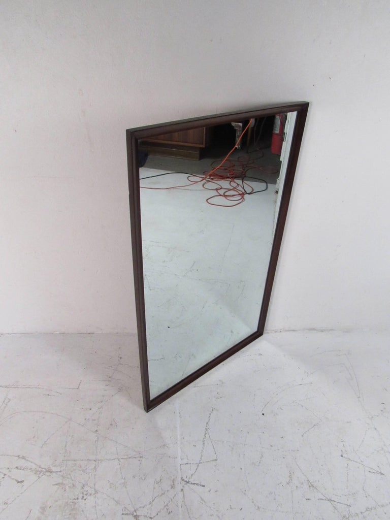 Late 20th Century Mid-Century Modern Walnut Wall Mirror For Sale