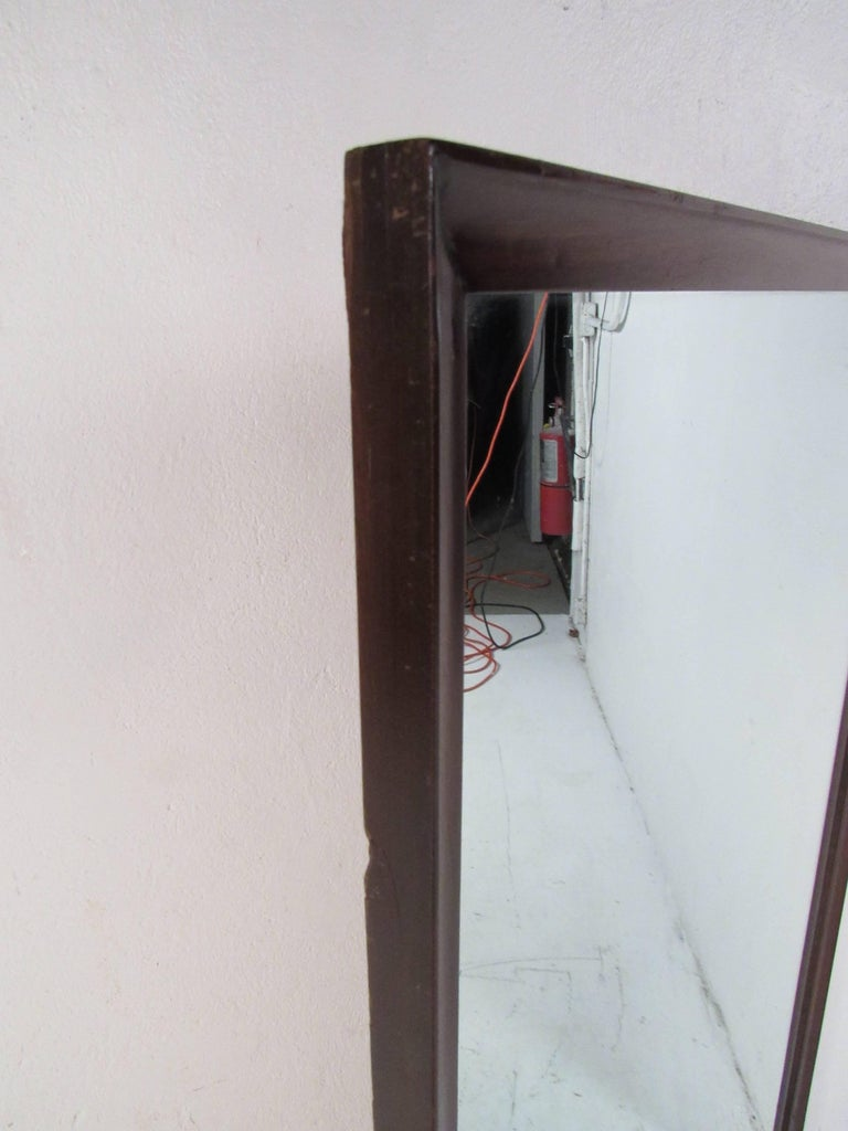Mid-Century Modern Walnut Wall Mirror For Sale 2
