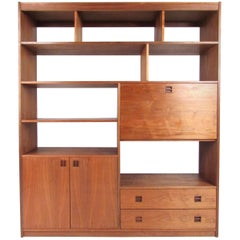 Mid-Century Modern Walnut Wall Unit or Room Divider