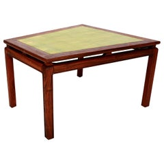 Mid-Century Modern Walnut Wedge Side Table with Gold Leaf Style of Dunbar