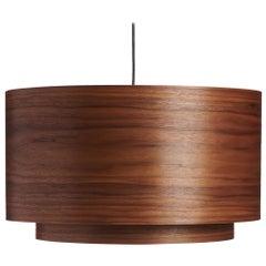 Mid-Century Modern Walnut Wood Drum Chandelier Pendant