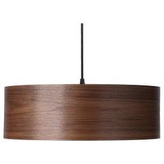 Mid-Century Modern Walnut Wood Drum Pendant