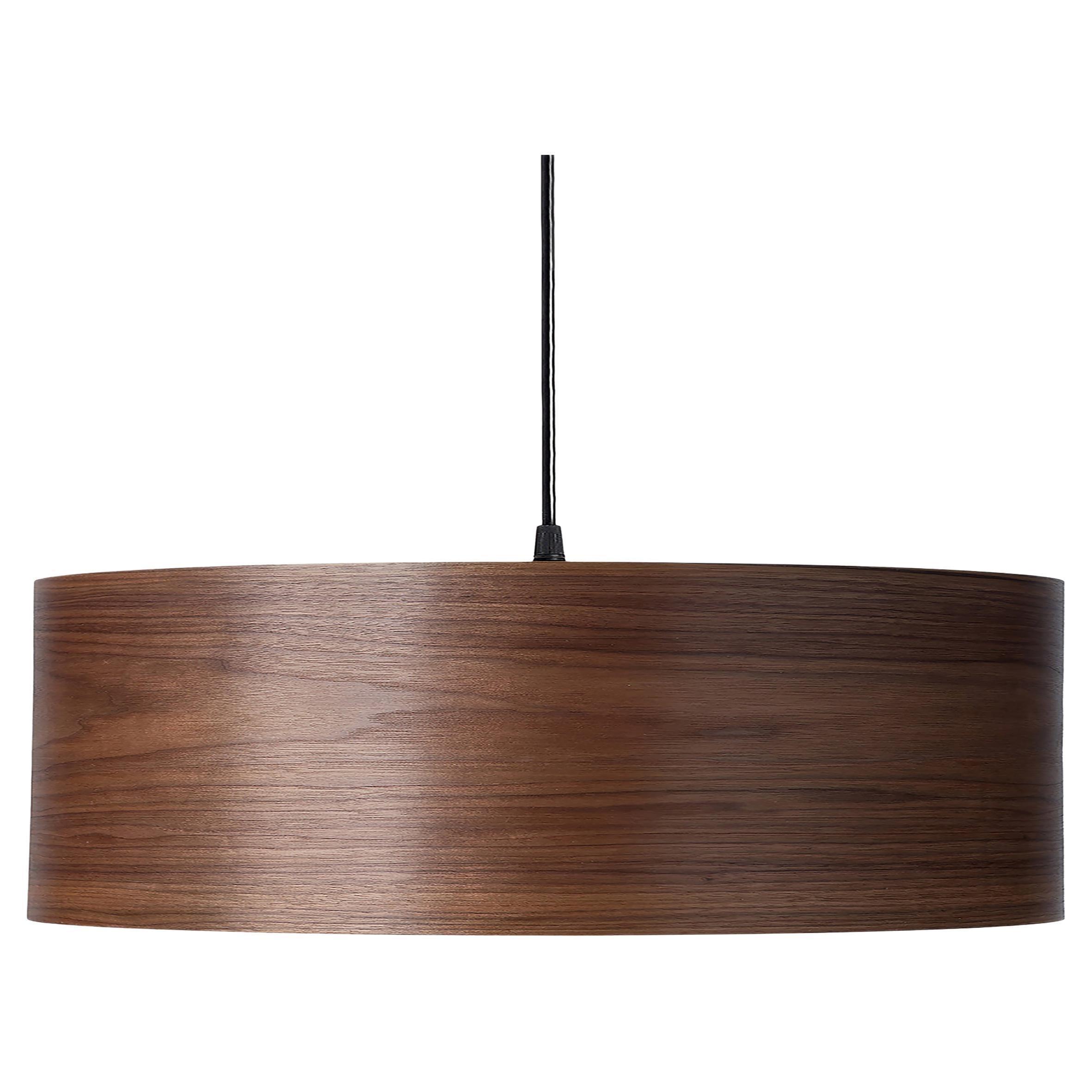 "Mid-Century Modern Walnut Wood 30"" Drum Pendant"