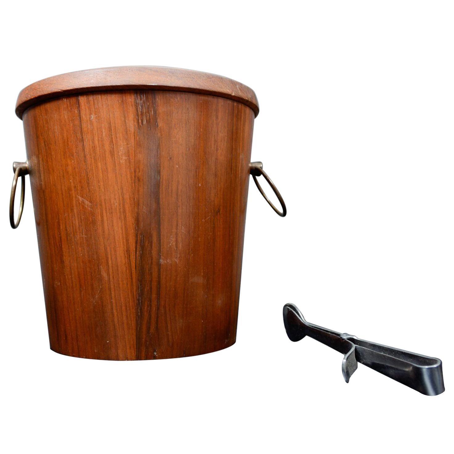 Mid-Century Modern Walnut Wood Ice Bucket with Stainless Steel Tongs 1960s