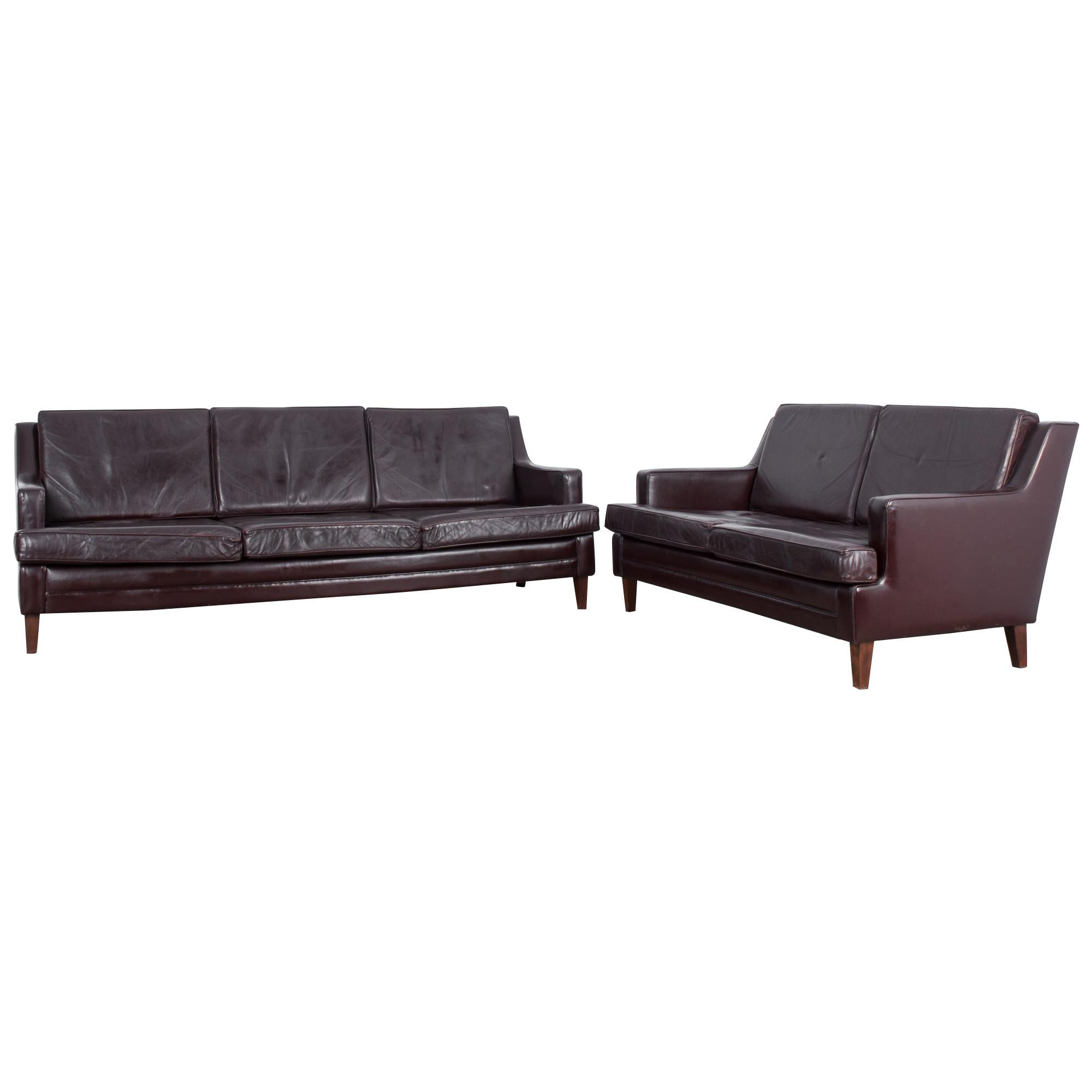 Mid-Century Modern Walter Knoll Leather Sofas, Set of Two