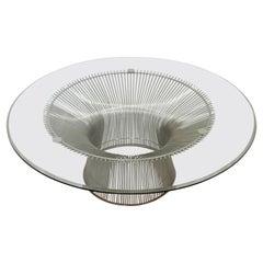 Mid-Century Modern Warren Platner Chrome Wire & Glass Round Coffee Table 1960s
