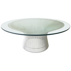 Mid-Century Modern Warren Platner for Knoll Wired Steel and Glass Coffee Table
