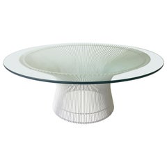 Mid-Century Modern Warren Platner for Knoll Wired Steel & Glass Coffee Table