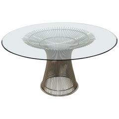 Mid-Century Modern Warren Platner Knoll Steel Wire Round Glass Dining Table