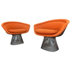 Mid-Century Modern Warren Platner Knoll Wire Lounge Chair, Pair