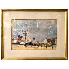 Mid-Century Modern Watercolor by Arbit Blatas Gouache on Paper Signed Dated 1961