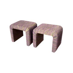 Mid-Century Modern Waterfall Milo Baughman Purple Stools or Ottomans, a Pair