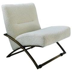 Mid-Century Modern 'Wave' S11 White Arm Chair in Aged Brass