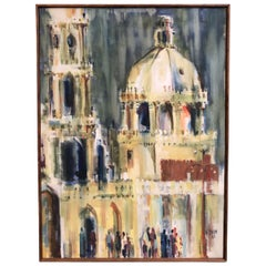 Mid Century Modern Wayne Dean  Hermosillo Cathedral 1965 Oil on Cavnas