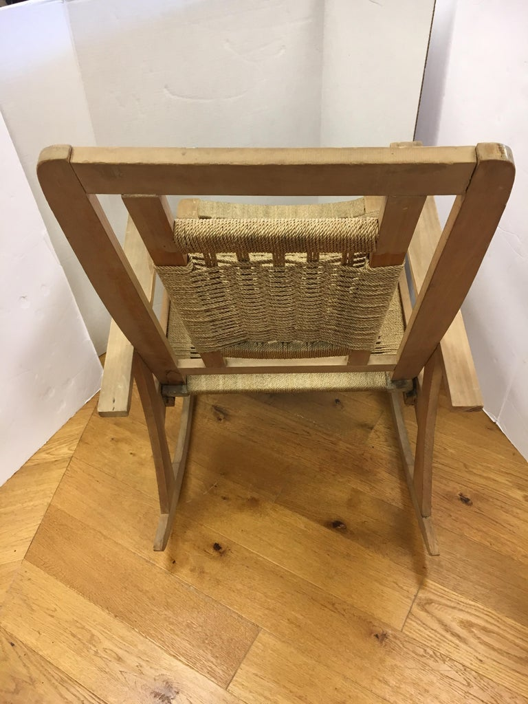Mid-Century Modern  Rope Rocking Chair Rocker For Sale 10