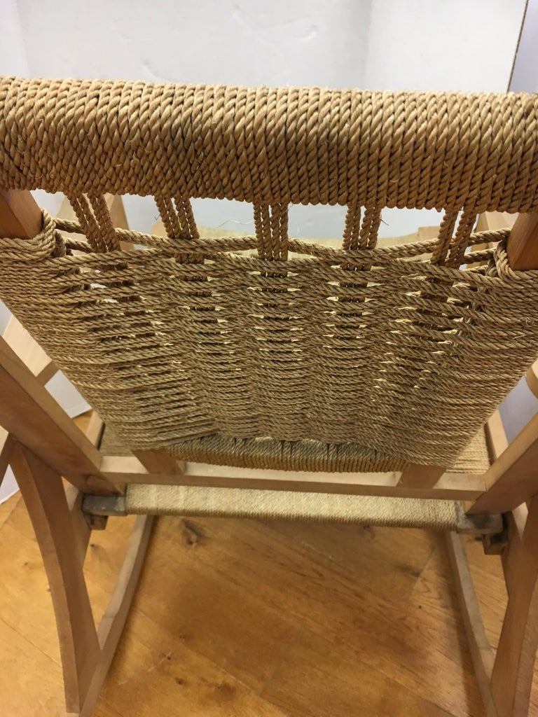 Mid-Century Modern  Rope Rocking Chair Rocker For Sale 11