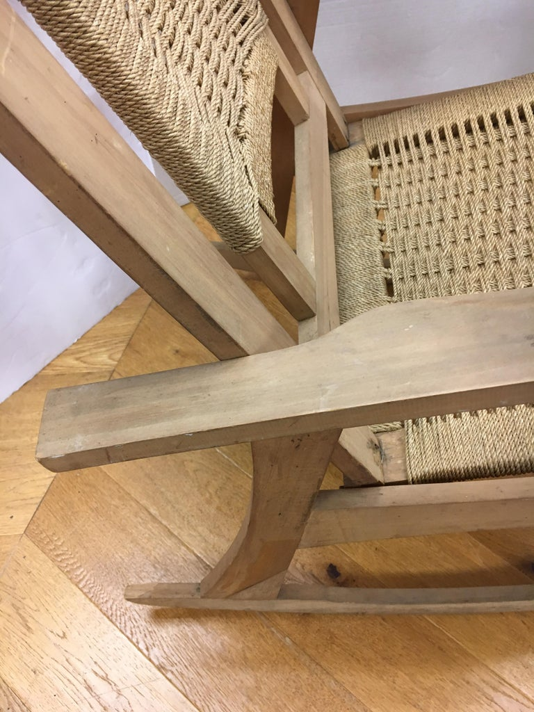Mid-Century Modern  Rope Rocking Chair Rocker For Sale 14